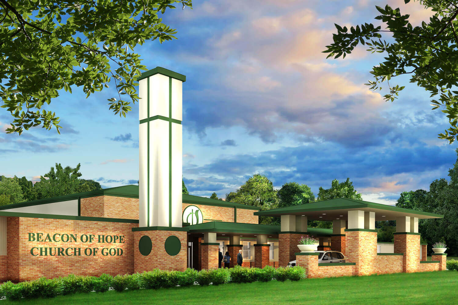 Beacon of Hope Church Designed by Foshee Architecture - Artist Depiction and Rendering of a New Front Entry Tower
