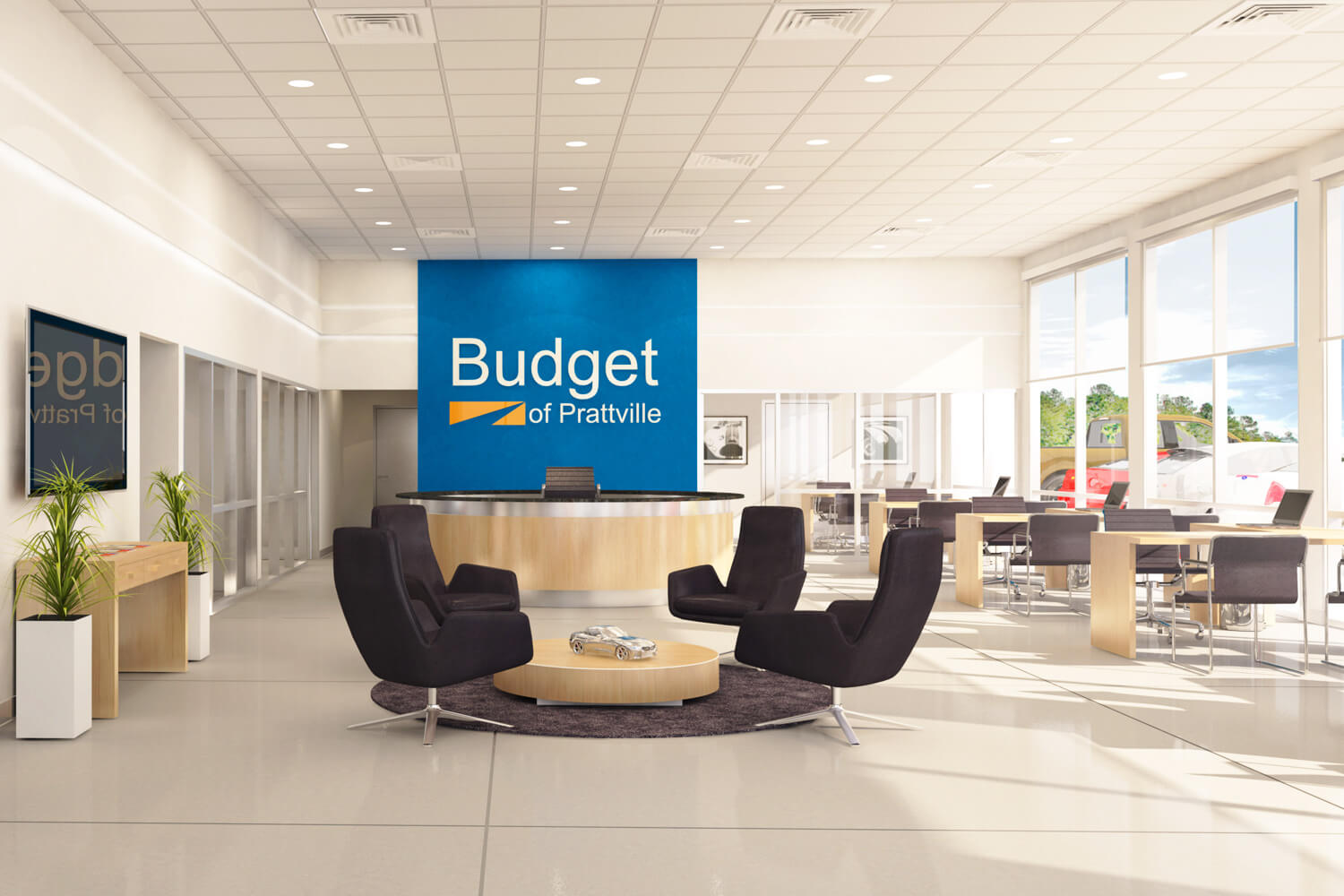 Budget Car Sales of Prattville Designed by Foshee Architecture - Artist Depiction and Rendering of the Interior of the Dealership
