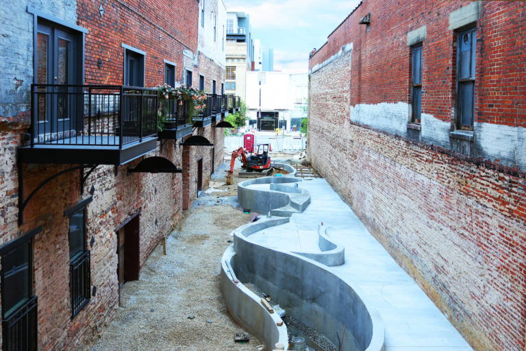 Dexter Alley Park Designed by Foshee Architecture – Aerial View During Construction