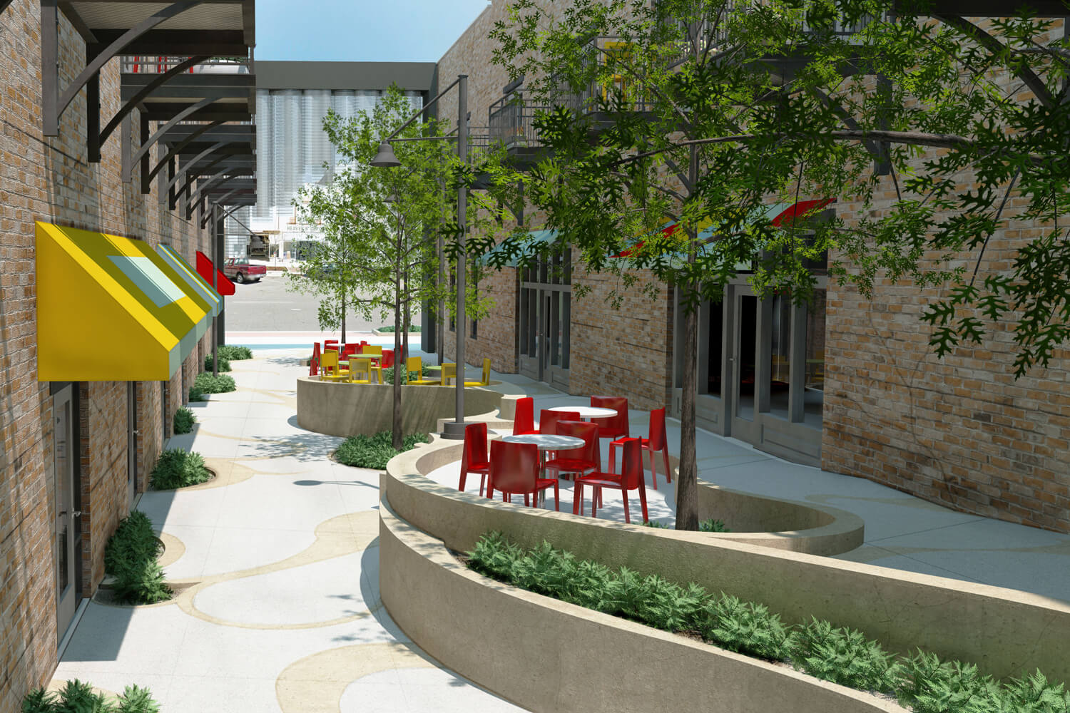 Dexter Alley Park Designed by Foshee Architecture - Exterior View from Back Steps