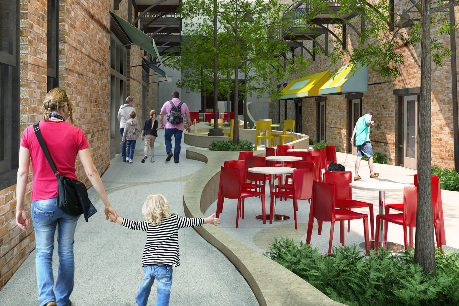 Dexter Alley Park Designed by Foshee Architecture -Exterior View from Ramp