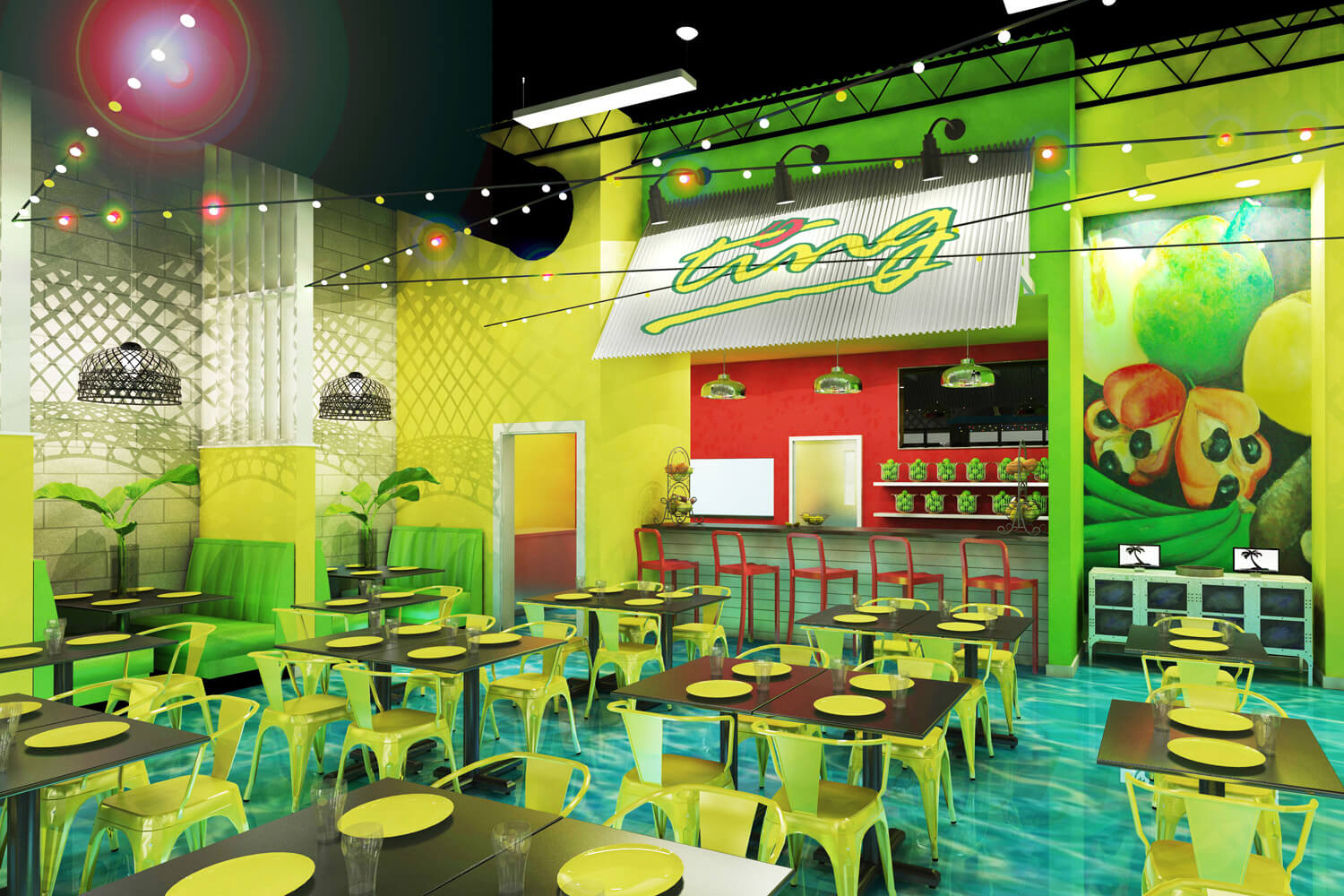 Island Delight Restaurant Designed by Foshee Architecture - Artist Depiction and Rendering of Interior Looking Towards the Juice Bar