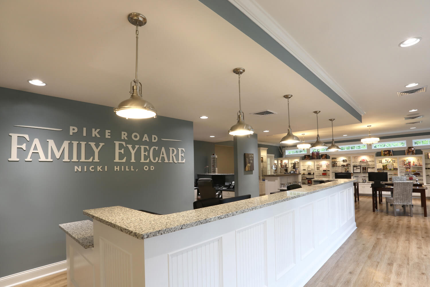 Pike Road Family Eyecare Designed by Foshee Architecture – View of the Reception Desk