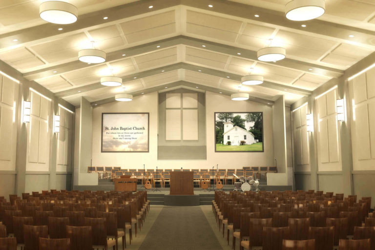 St. John Baptist Church Designed by Foshee Architecture - Artist Depiction and Rendering of the New Worship Hall and Sanctuary