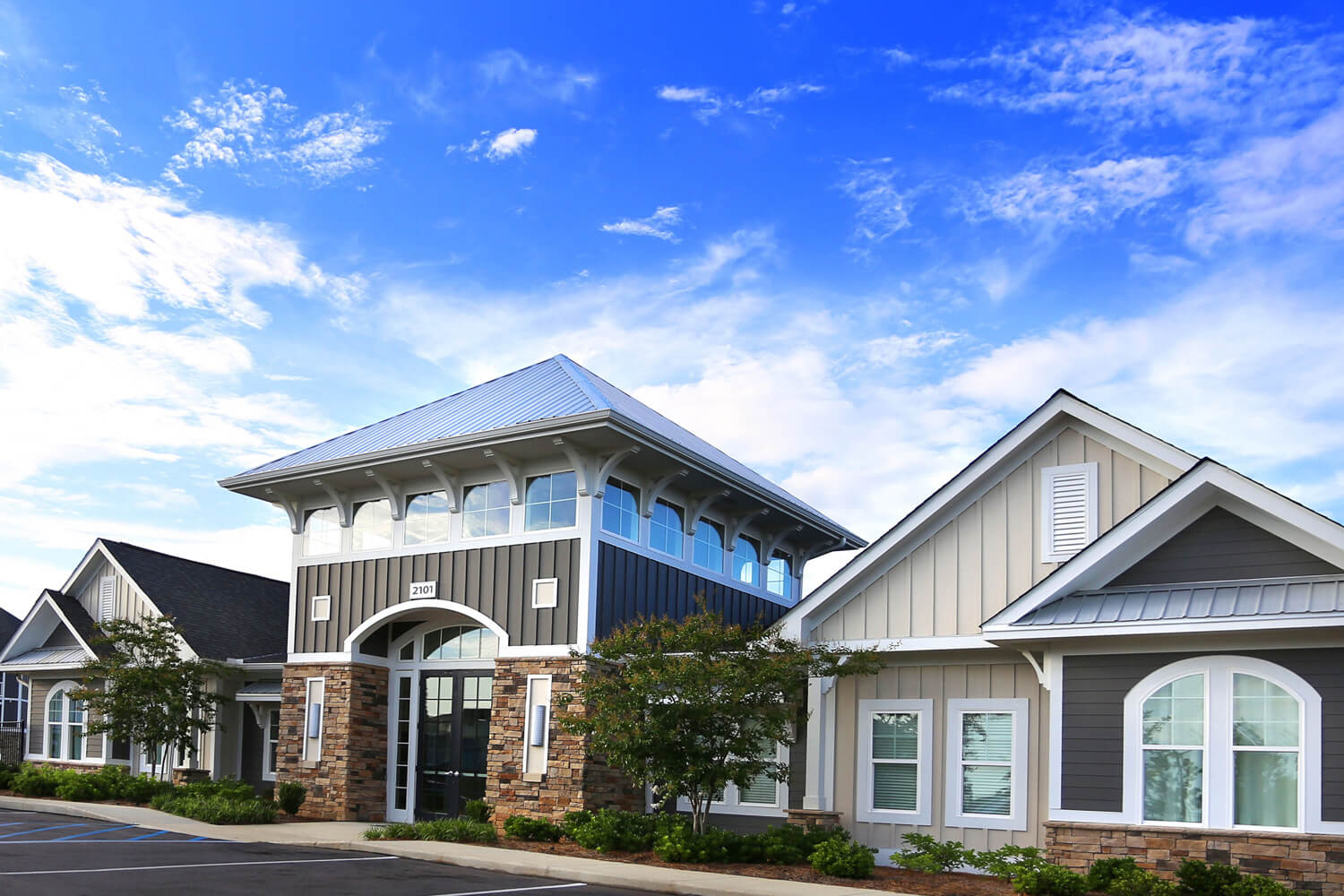 The Morgan Apartments Clubhouse Designed by Foshee Architecture - View of Front Elevation