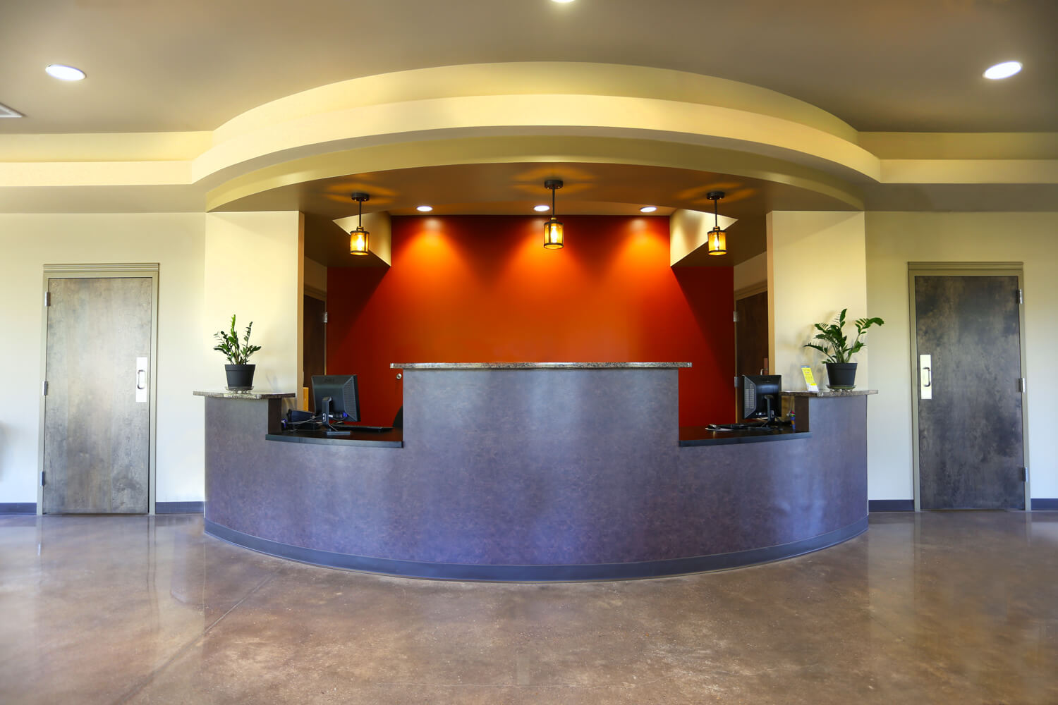 Troy Family Medicine Interior Reception Desk - Designed by Foshee Architecture