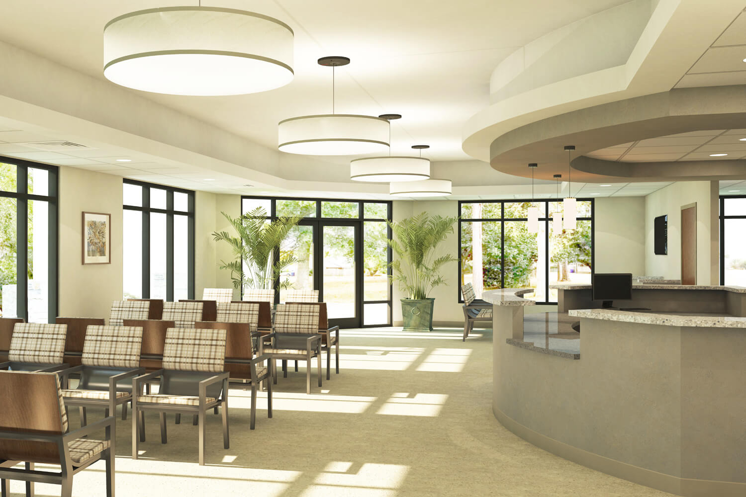 Troy Family Medicine Clinic Designed by Foshee Architecture - Artist Depiction and Rendering of the Interior