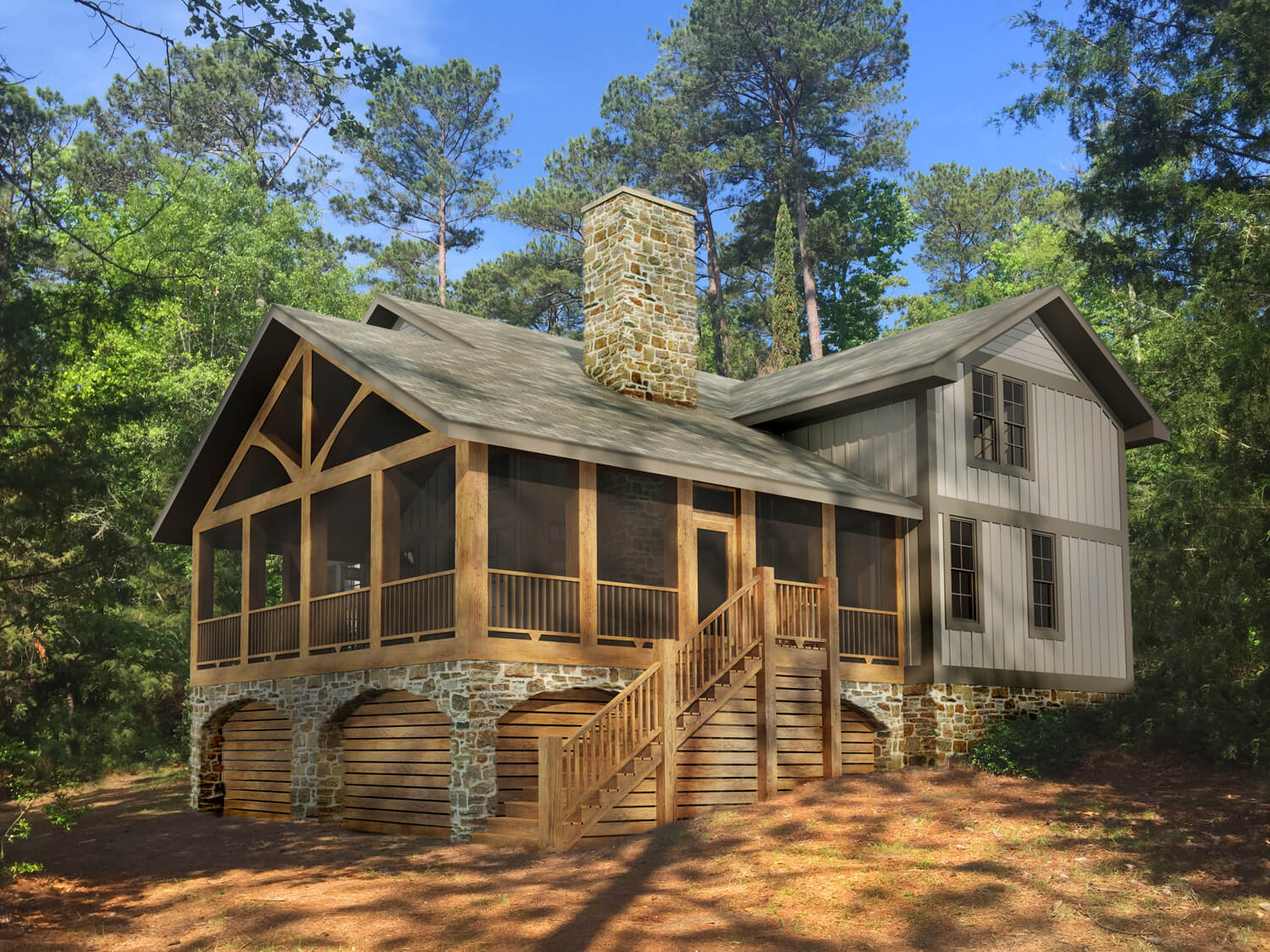 Designed by Foshee Architecture – Lake House 2 Front Corner Perspective