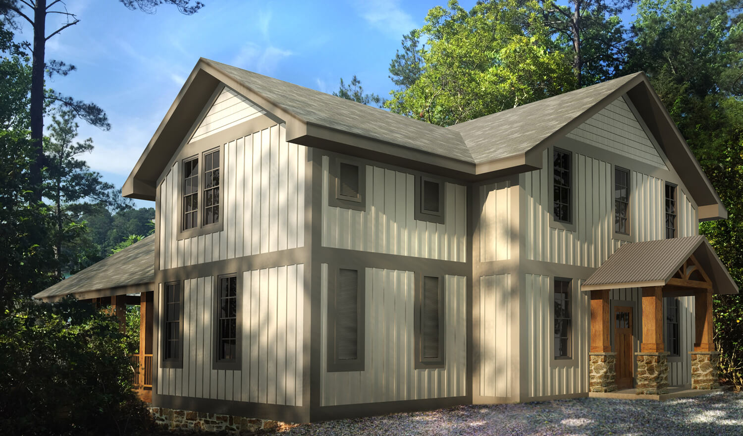 Designed by Foshee Architecture – Lake House 2 Rear Perspective