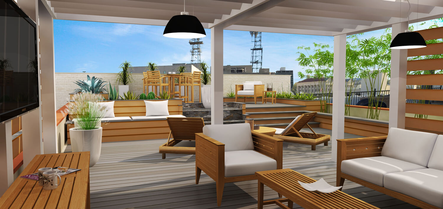 Designed by Foshee Architecture – Private Residence Downtown Rooftop Terrace