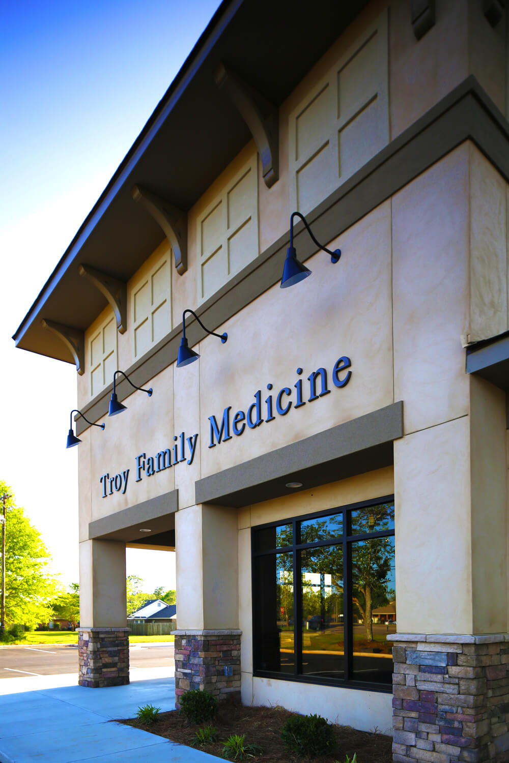 Troy Family Medicine Exterior Detail at Sign - Designed by Foshee Architecture