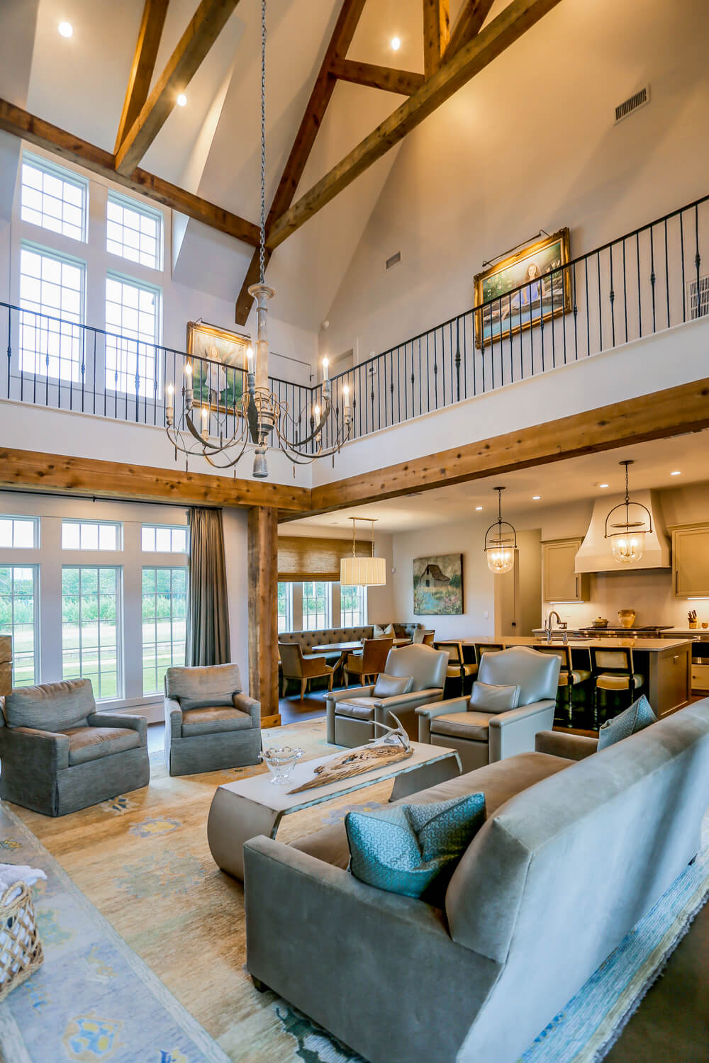 Private Residence - Living Room with Trusses - Designed by Foshee Architecture