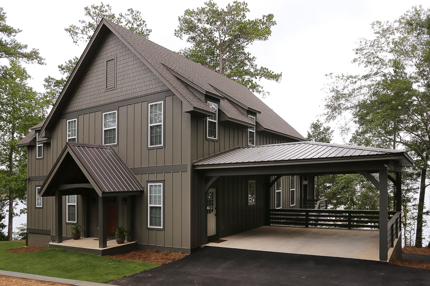 Lake Home - Rear Elevation and Carport - Designed by Foshee Architecture
