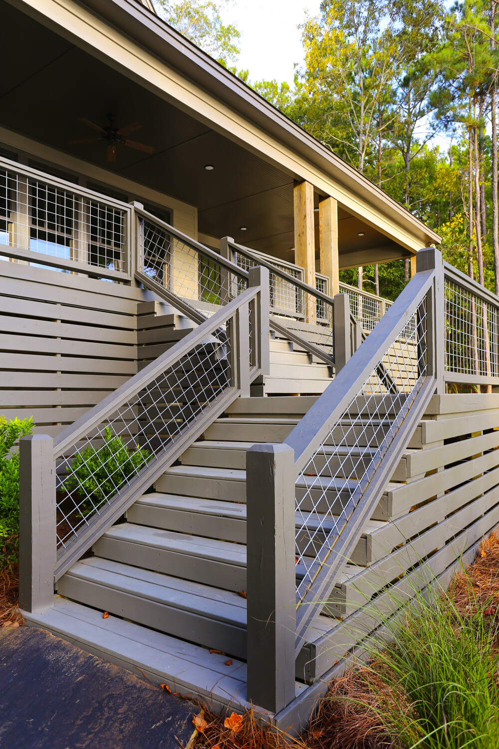 Lake House - Porch Stairs - Designed by Foshee Architecture
