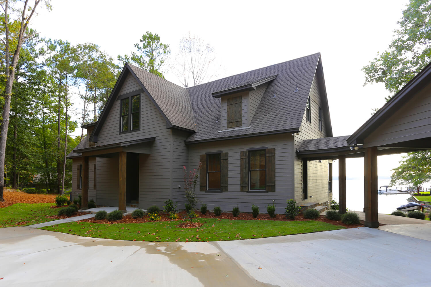 Lake House - Street Side Elevation - Designed by Foshee Architecture
