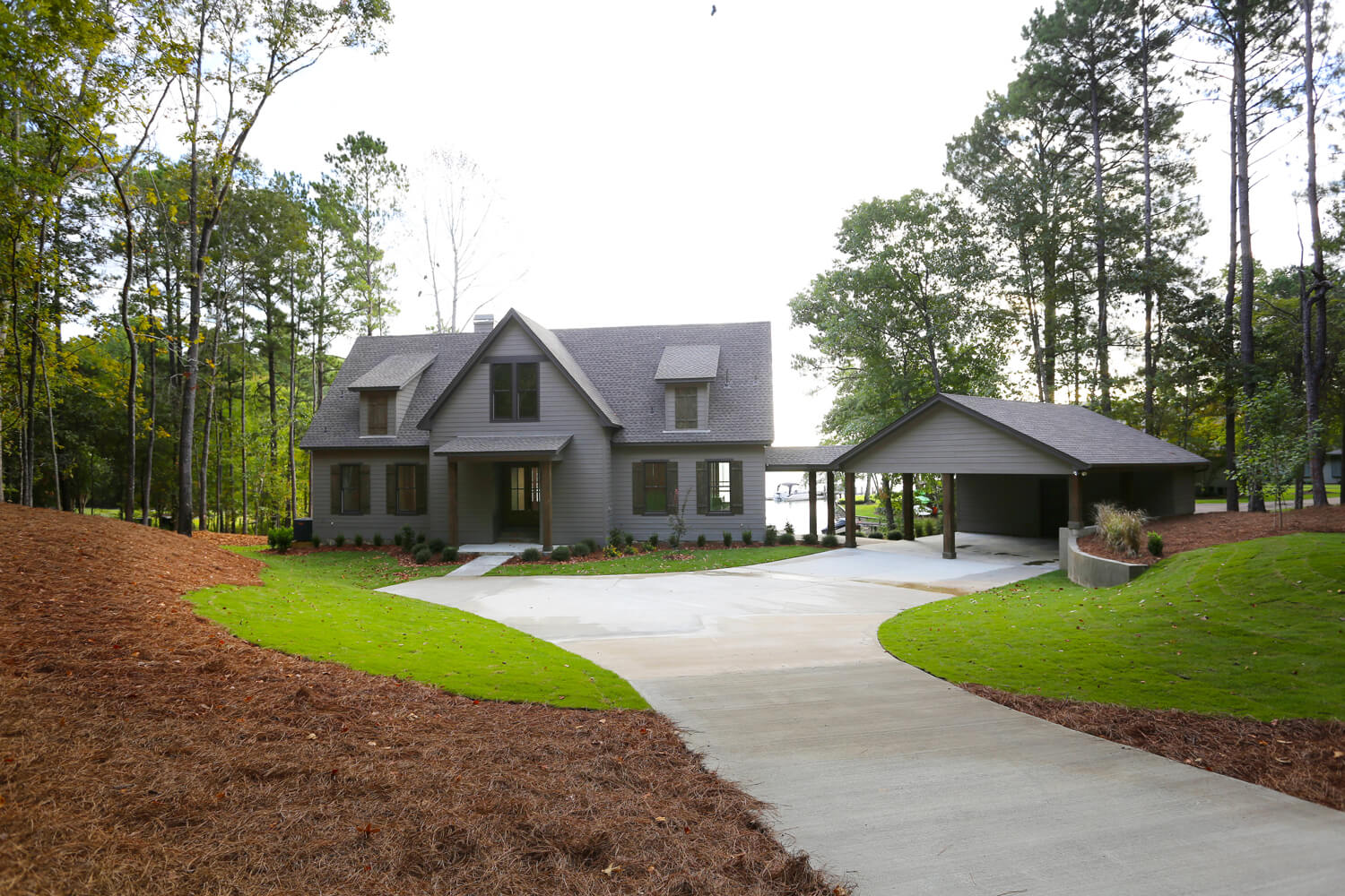 Lake House - Street Side View and Carport - Designed by Foshee Architecture
