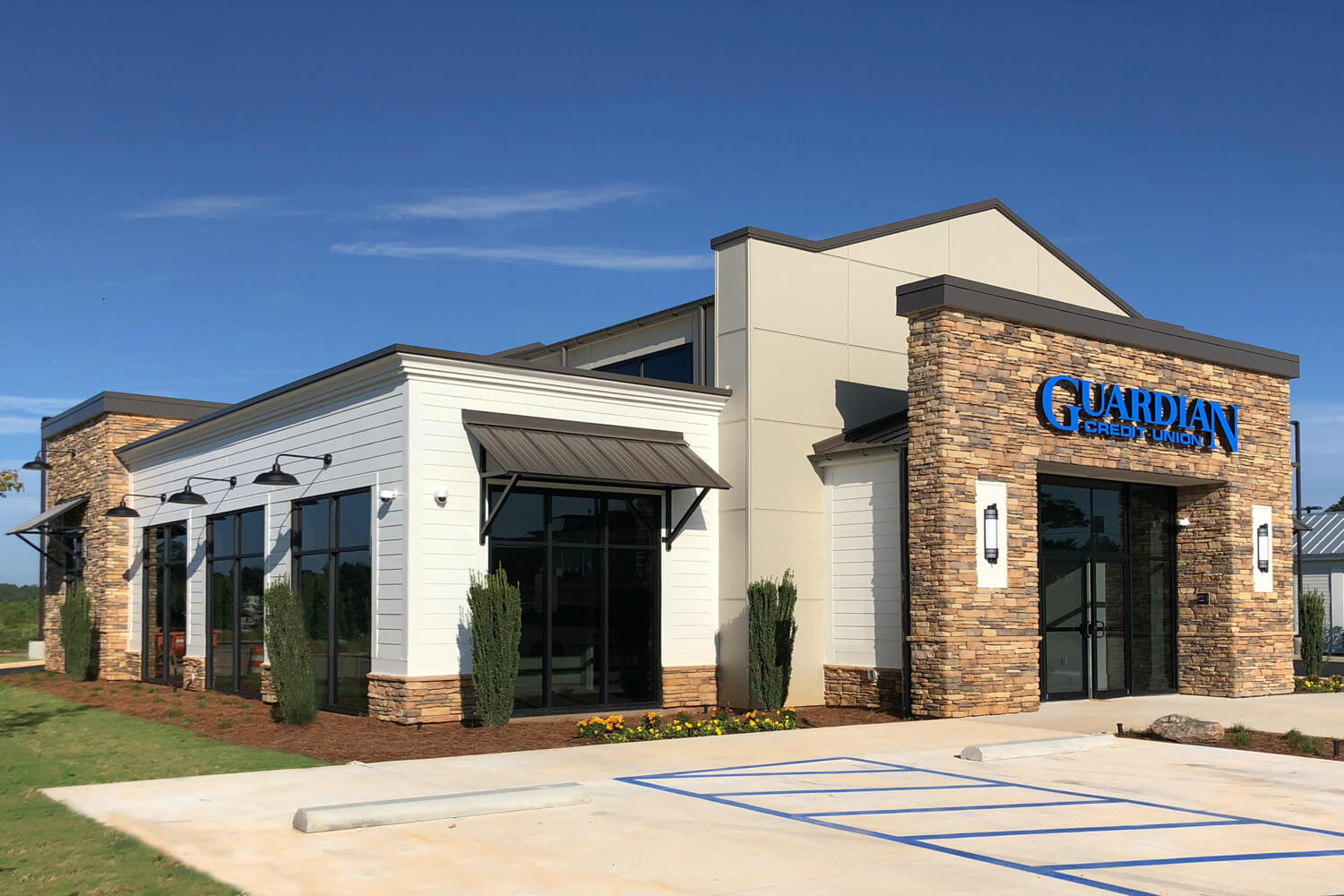 Guardian Credit Union - Front Elevation - Designed by Foshee Architecture