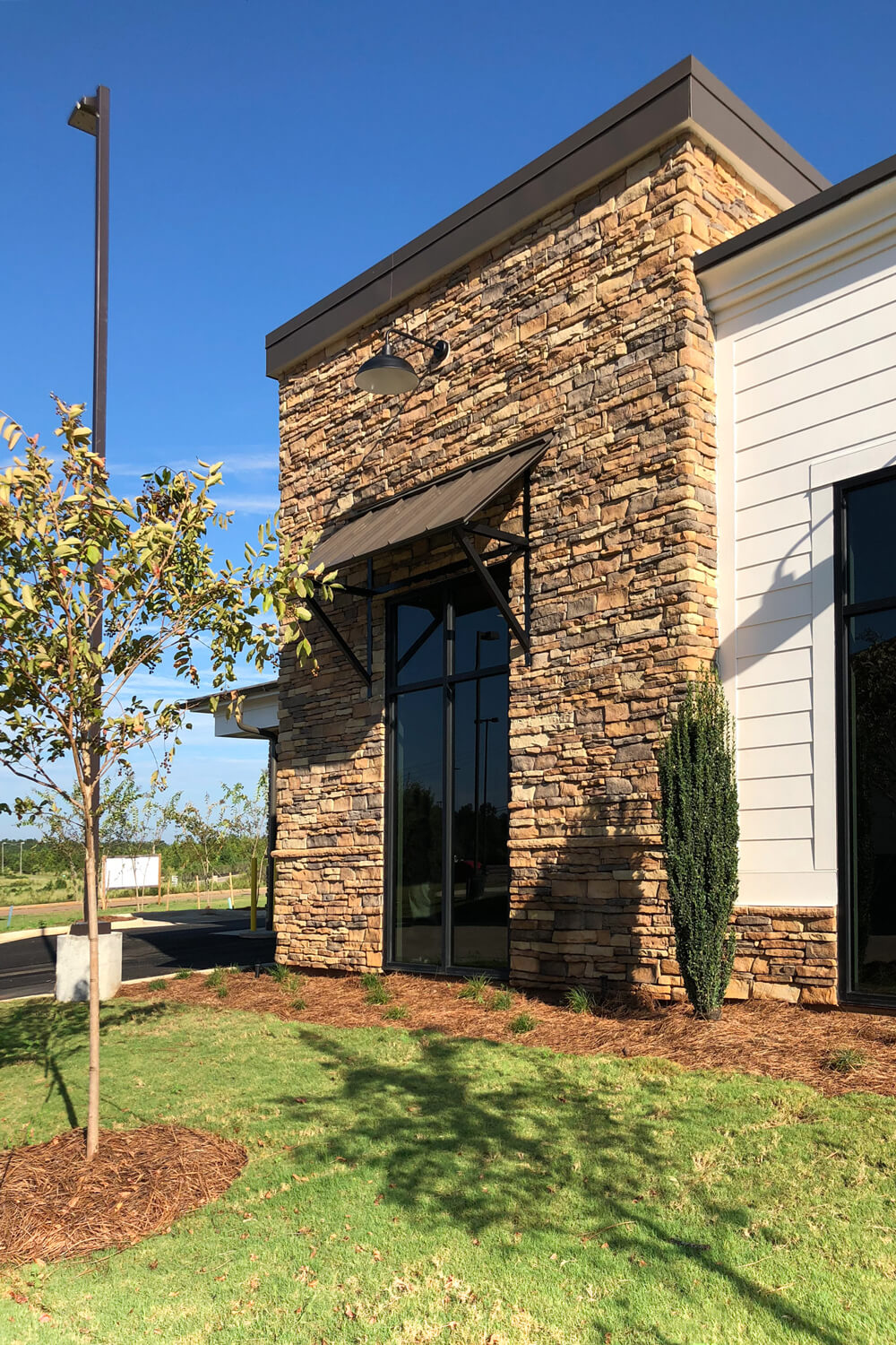 Guardian Credit Union - Stone Detail - Designed by Foshee Architecture
