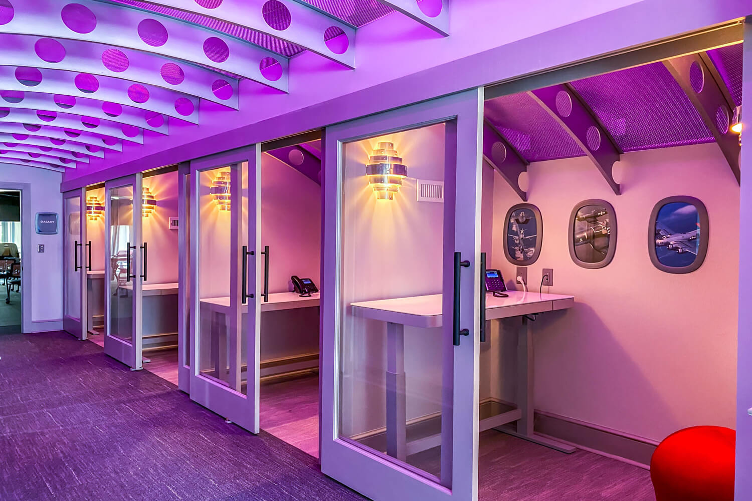 MGMWerx Collaboration Space - Corridor and Isolation Pods - Designed by Foshee Architecture